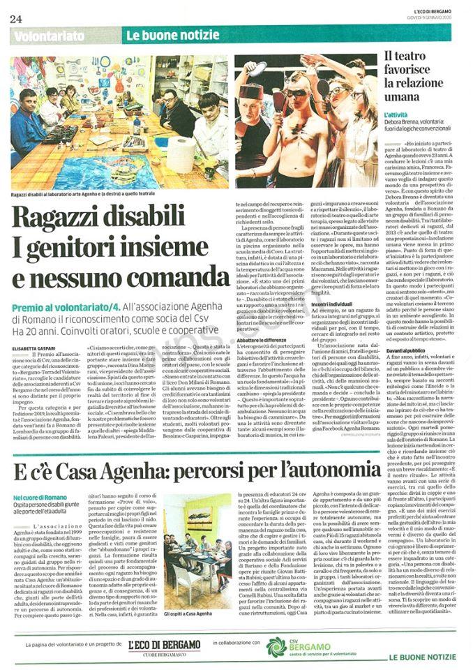 Articolo casa Agenha eco di Bergamo 9 1 20